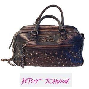 Betsey Johnson RARE Black Leather Studded Bag.